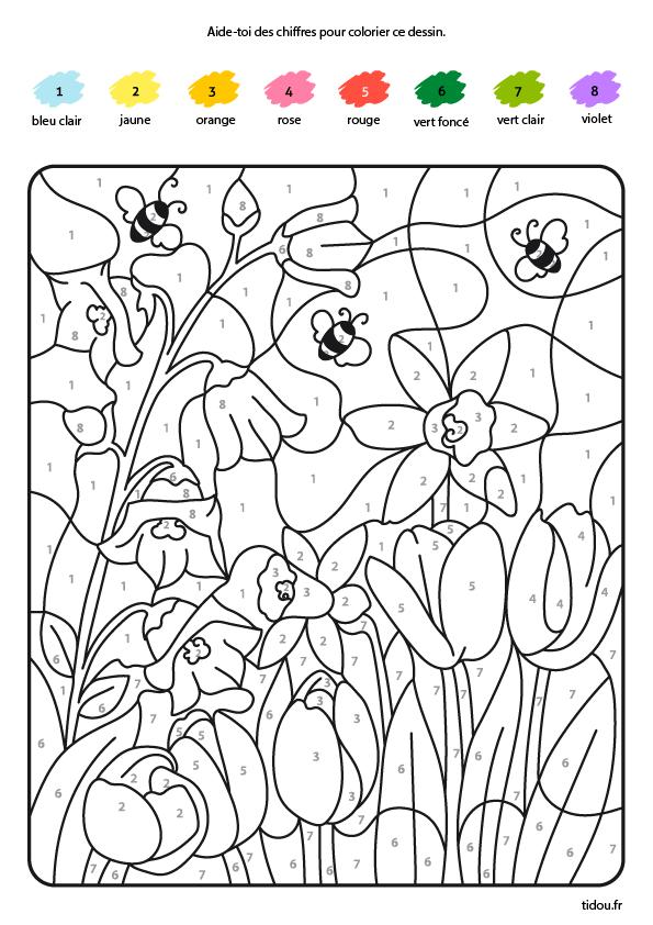 Coloriage Magique Des Abeilles Et Des Fleurs Tidou Fr