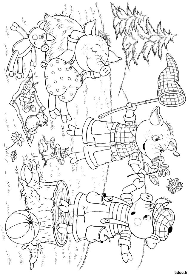 Coloriage Les Trois Petits Cochons Tidoufr