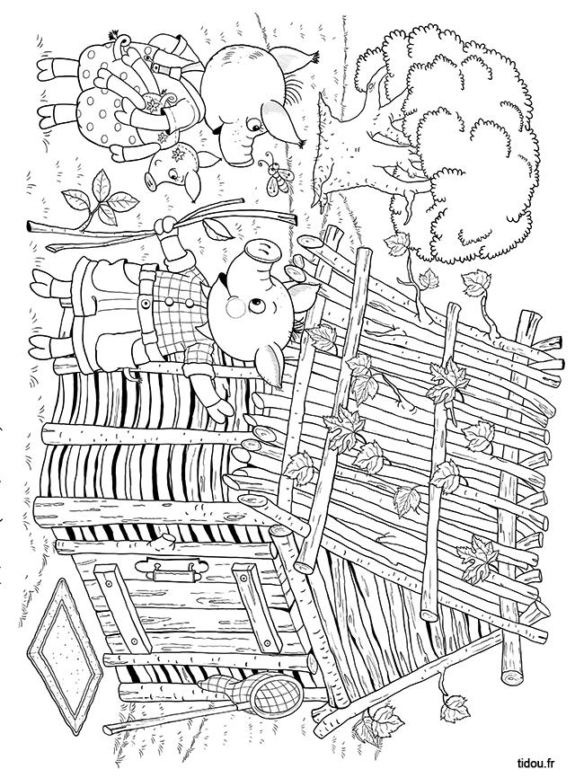 Coloriage Maison Cochon.Coloriage La Maison De Bois Des Trois Petits Cochons Tidou Fr