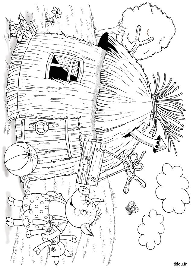 Coloriage Maison Cochon.Coloriage La Maison De Paille Des Trois Petits Cochons Tidou Fr