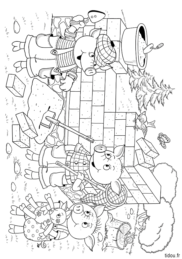 Coloriage Maison Cochon.Coloriage La Maison En Briques Du Troisieme Petit Cochon Tidou Fr