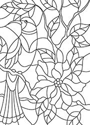 Dessin colorier un oiseau sur une branche fleurie - Vitraux a colorier ...