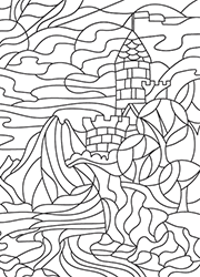 Coloriage En Ligne Gratuit Chateau.Dessin A Colorier Un Paysage Avec Un Chateau Fort Tidou Fr