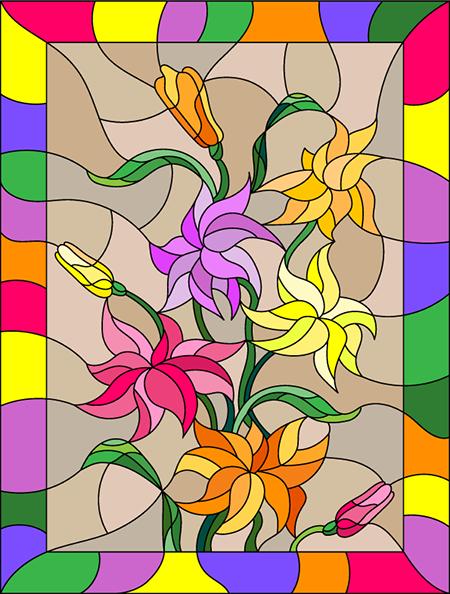 Coloriage Vitrail à Imprimer Un Bouquet De Fleurs Tidoufr