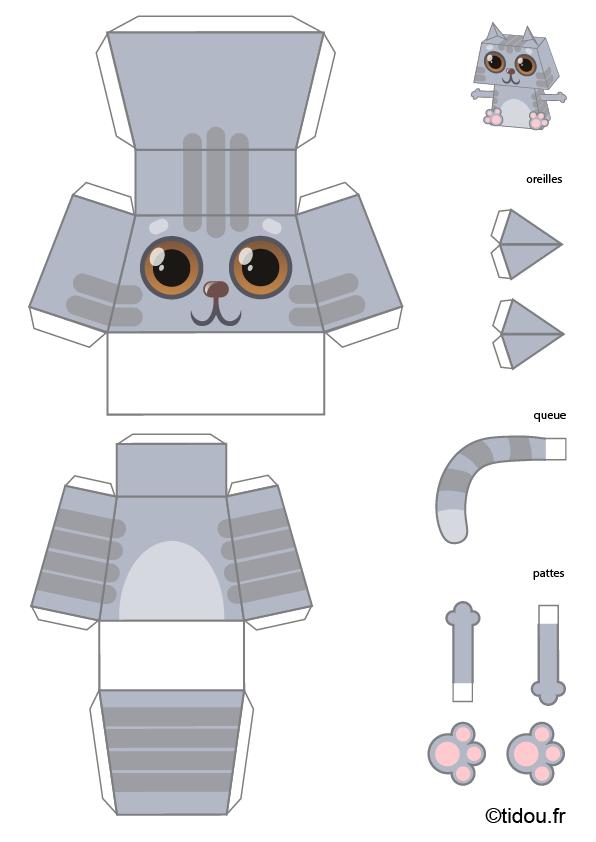 Paper Toy Chat Gris à Imprimer Et Découper Tidou Fr