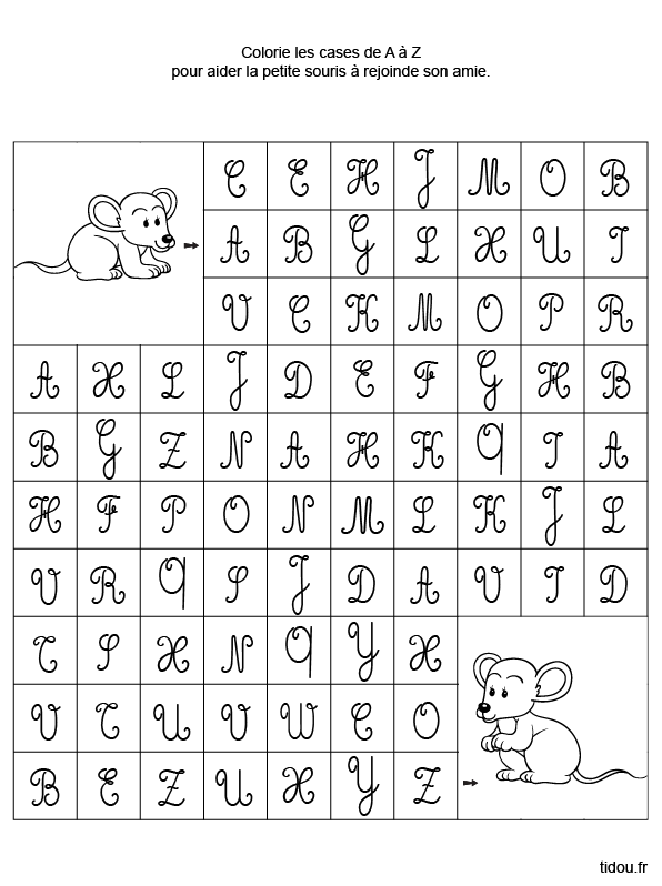 Alphabet en lettres majuscules cursives - Alphabet majuscule a imprimer ...