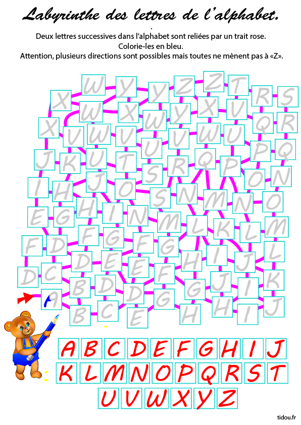 Labyrinthe De Lalphabet Jeu à Imprimer Tidoufr
