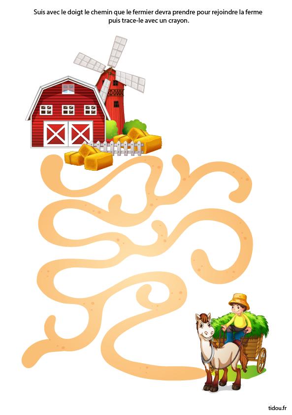 labyrinthe imprimer le fermier. Black Bedroom Furniture Sets. Home Design Ideas